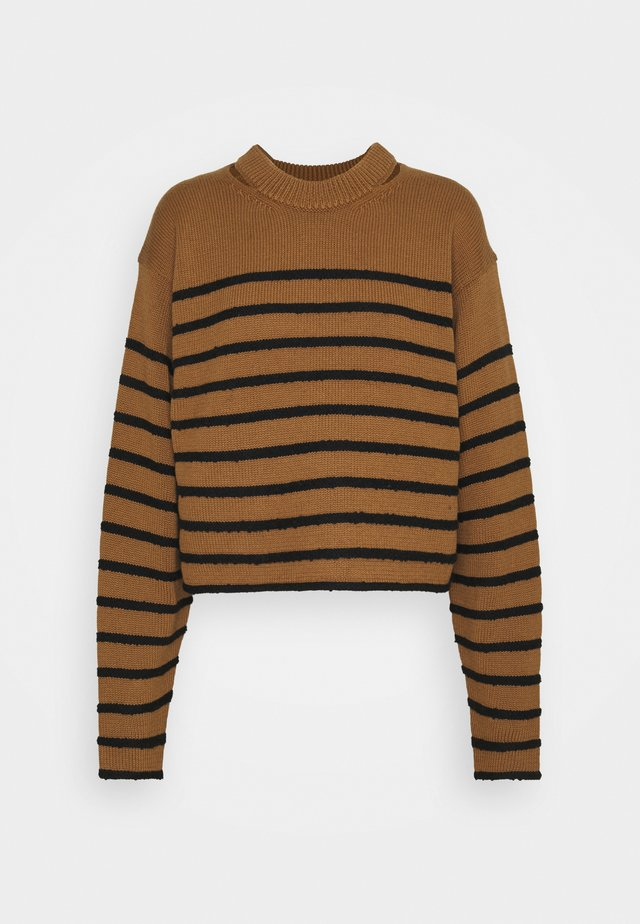 STRIPED BOUCLE  - Strickpullover - ochre