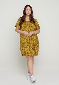 Zizzi - Day dress - yellow ditsy flower - 1