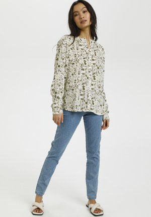 Button-down blouse - light green petit fleur