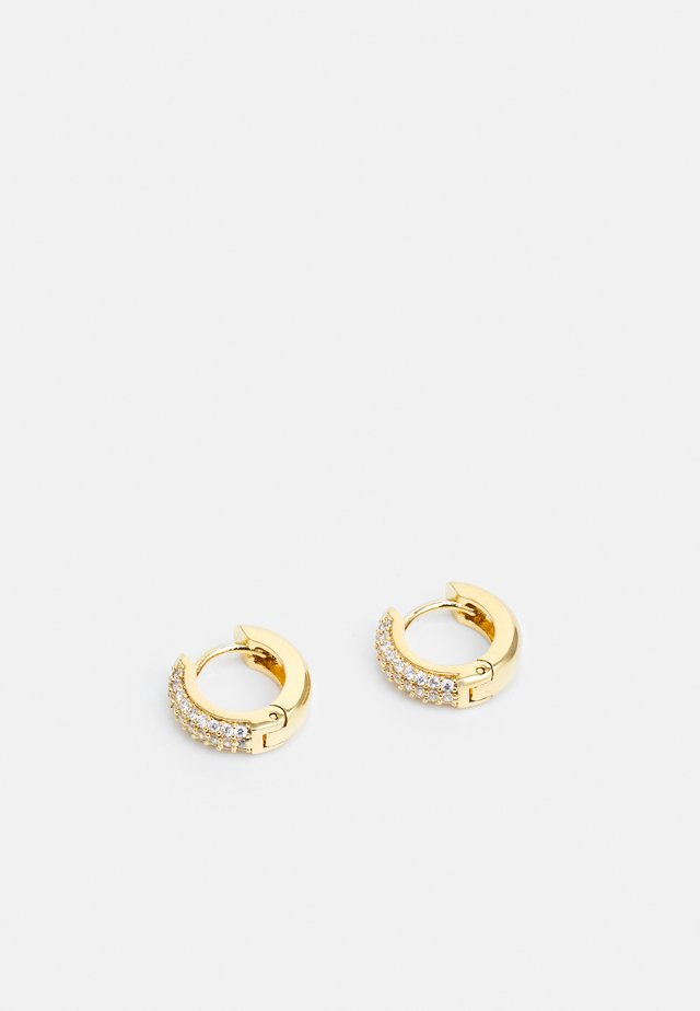 PAVE DOMED HUGGIE HOOP - Boucles d'oreilles - gold-coloured/transparent