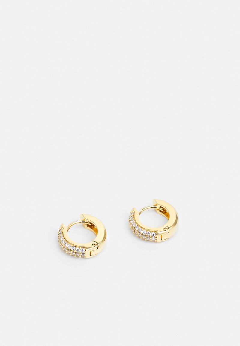 Orelia - PAVE DOMED HUGGIE HOOP - Earrings - gold-coloured/transparent
