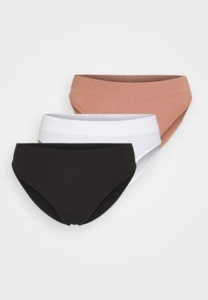 SEAMLESS HIGH CUT SOLID 3 PACK - Briefs - true black/white/meadow bound