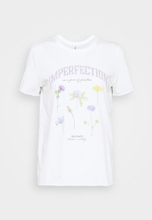 ONLLUCY LIFE WILDFLOWER  - T-shirts med print - bright white/imperfection