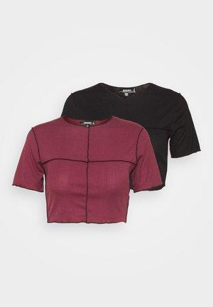 CONTRAST STITCH LETTUCE HEM CROP 2 PACK  - Print T-shirt - wine/black