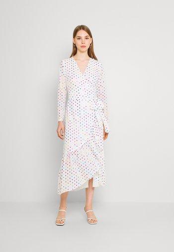 RAINBOW SPOT WRAP DRESS - Denní šaty - white