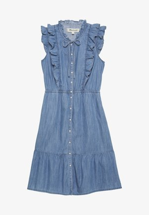 MINI RUFFLE DRESS - Denim dress - light indigo