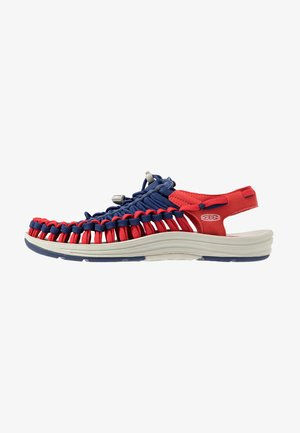 UNEEK FLAT - Walking sandals - blue depths/firey red