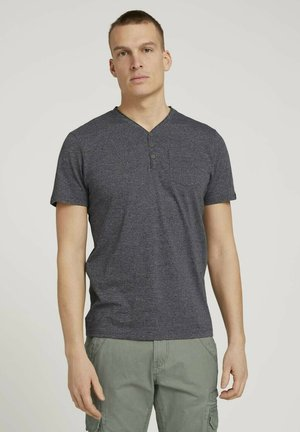 HENLEY  - Basic T-shirt - dark grey grindle melange