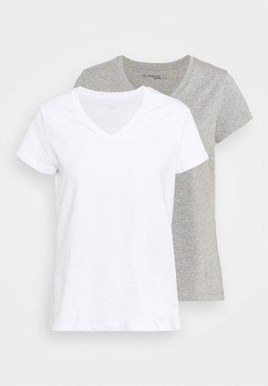 2 PACK - Basic T-shirt - white/grey