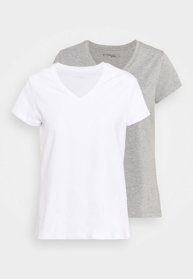 2 PACK - T-shirt basique - white/grey