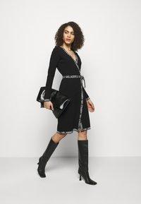 KARL LAGERFELD - LOGO TAPE WRAP DRESS - Jumper dress - black - 1