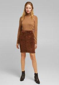 Esprit - PENCIL SKIRT - Pencil skirt - brown - 5