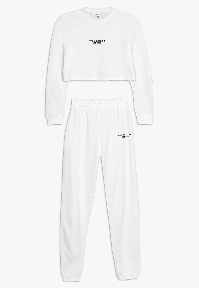 Missguided - CROP AND JOGGER SET - Trainingspak - white