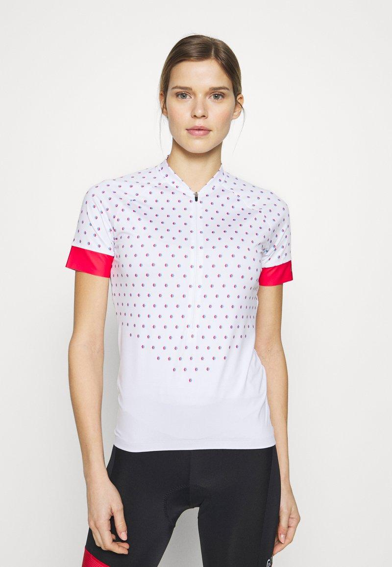 LÖFFLER - BIKE RISE UP - Print T-shirt - white/flamenco