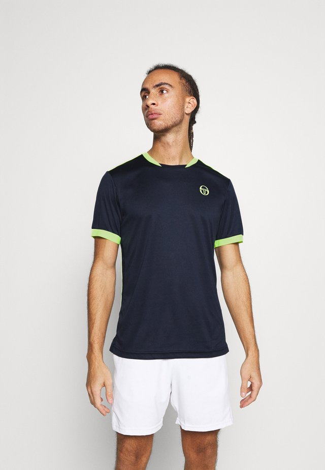 CLUB TECH - T-shirt sportiva - navy/yellow fluo