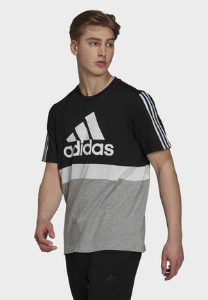 COLORBLOCK ESSENTIALS SPORTS - T-shirt con stampa - black/white