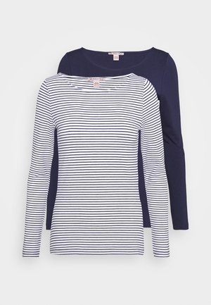 2 PACK - Long sleeved top - white/navy