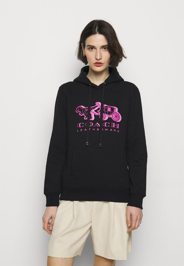 NEON HORSE AND CARRIAGE HOODIE - Sweater - black