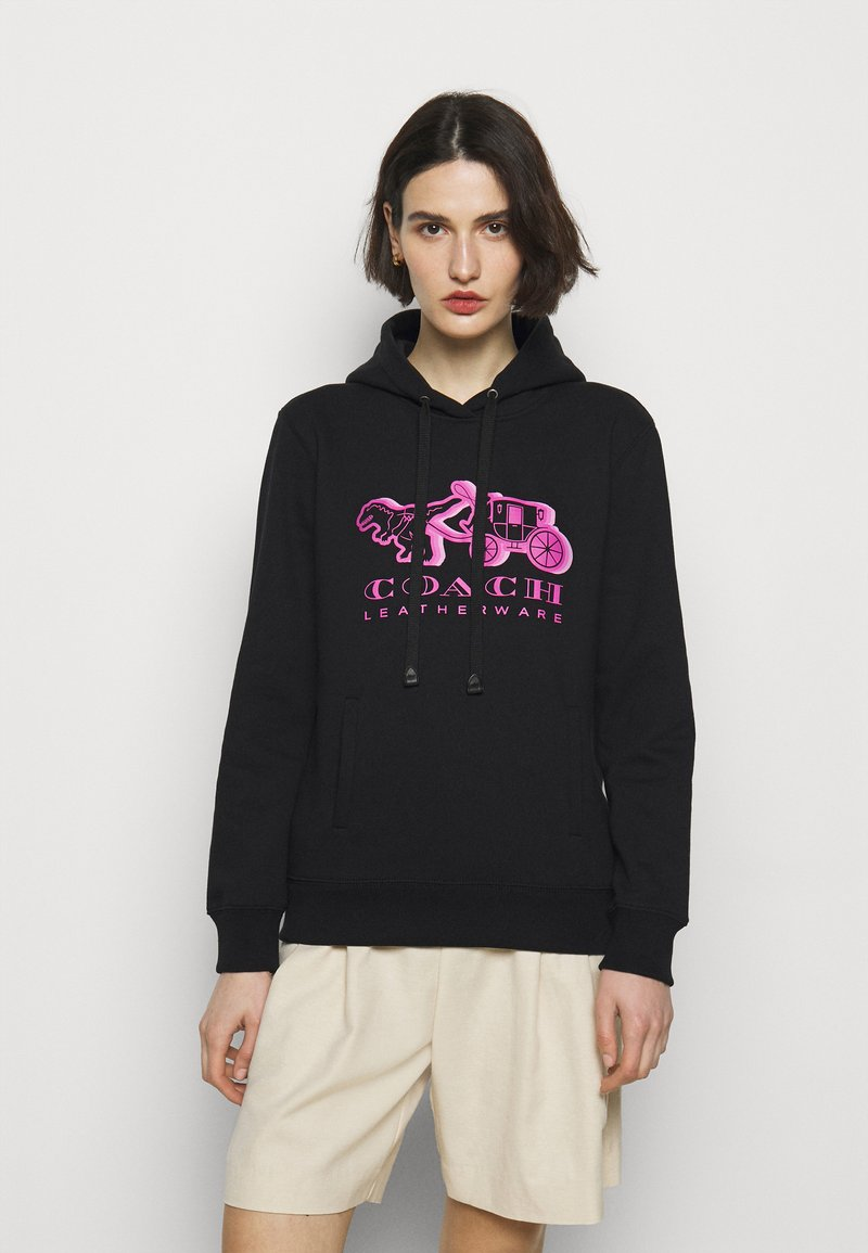 Coach - NEON HORSE AND CARRIAGE HOODIE - Sweatshirt - black