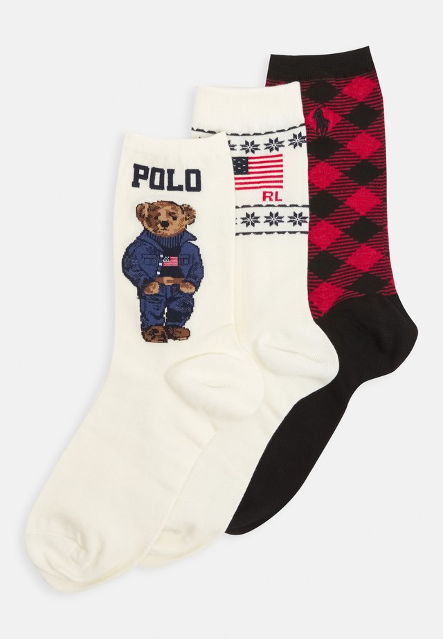 GIFT BOX 3 PACK - Socks - offwhite/red