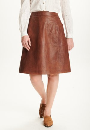 A-line skirt - dark cognac