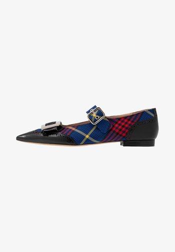 Ankle strap ballet pumps - nero/blue