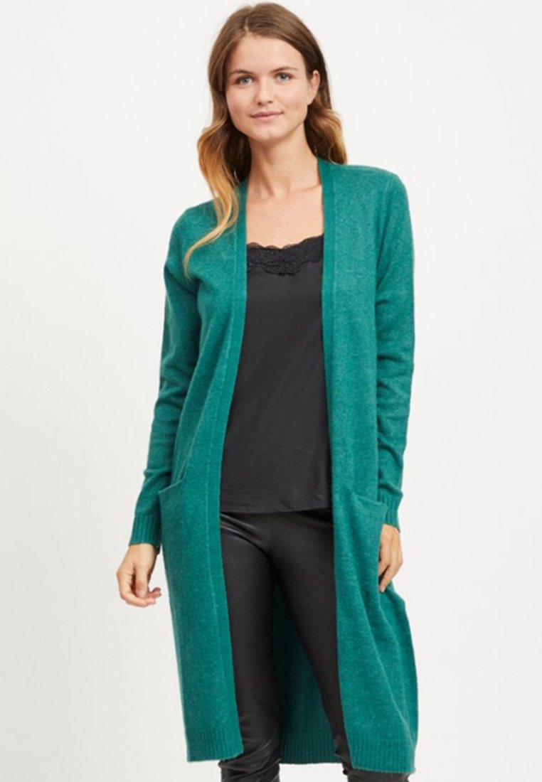 Vila - VIRIL LONG CARDIGAN  - Cardigan - petrol