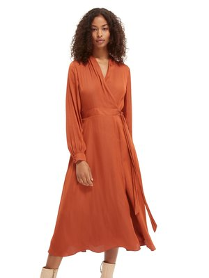 BELTED WRAP-OVER MIDI-LENGTH DRESS - Day dress - enigma red