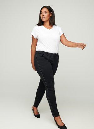 SANNA MIT LUREX-DETAIL - Slim fit jeans - black