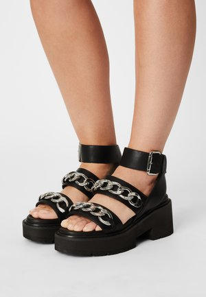 VEGAN ROCKET - Platform sandals - black