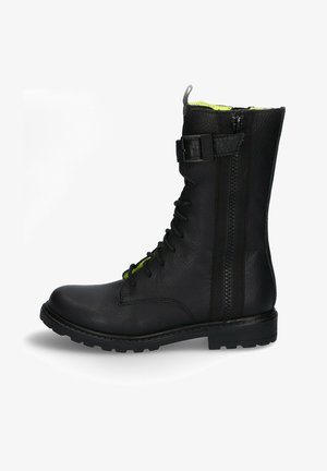 Lace-up ankle boots - black/yellow