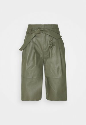 OBJDANA - Leather trousers - deep lichen green