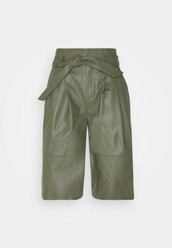 OBJDANA - Kožené kalhoty - deep lichen green