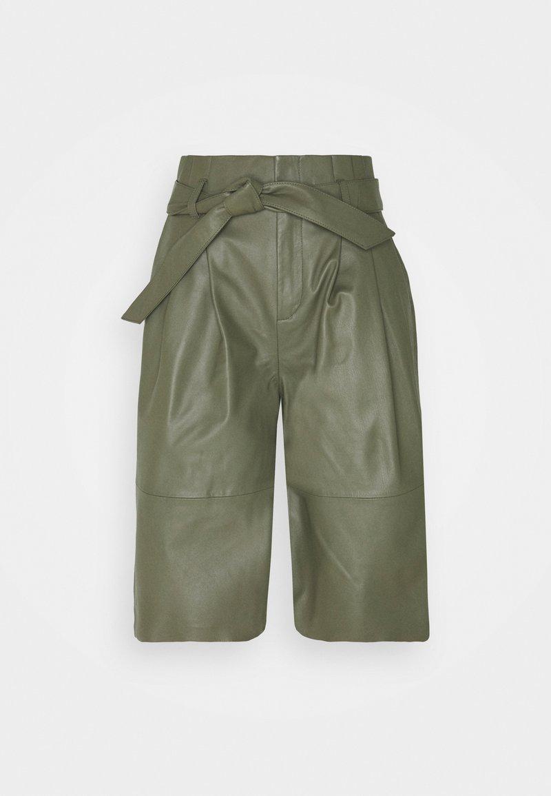 Object - OBJDANA - Kožené kalhoty - deep lichen green