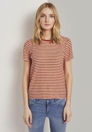 Print T-shirt - orange offwhite stripes