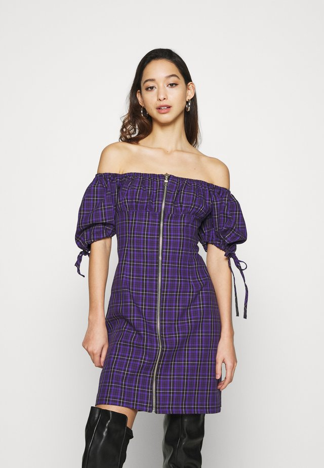 CHECK MINI DRESS WITH TIES AND ZIP - Day dress - purple