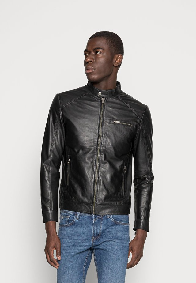 CLASSIC JACKET - Leren jas - black