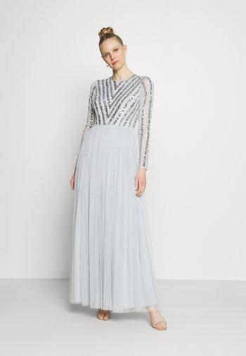 STRIPE EMBELLISHED LONG SLEEVE DRESS - Vestido de fiesta - glacier blue