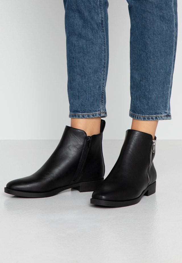 JESINTA SQUARE TOE ZIP BOOT - Nilkkurit - black smooth