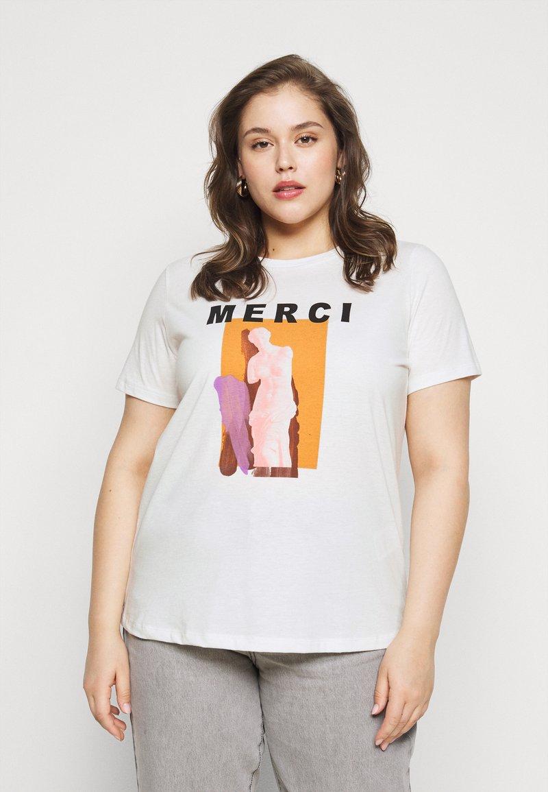 Vero Moda Curve - VMJEANNA  - Print T-shirt - snow white