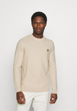 CHECKERBOARD CREW NECK JUMPER - Jumper - sesame