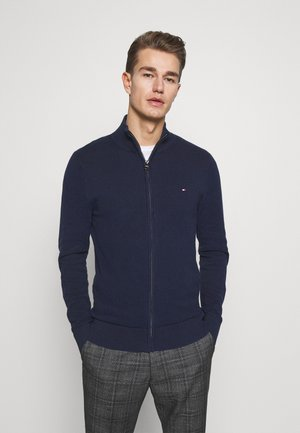 FINE STRUCTURED ZIP THROUGH - Cardigan - blue