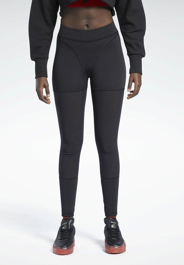CARDI MESH COLLAB CASUAL LEGGINGS - Leggings - black