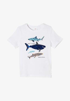 MIT WENDEPAILLETTEN - T-shirt print - white