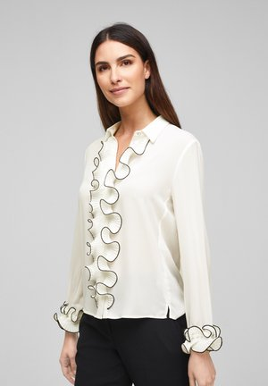 MET GEPLOOIDE VOLANTS - Button-down blouse - soft white