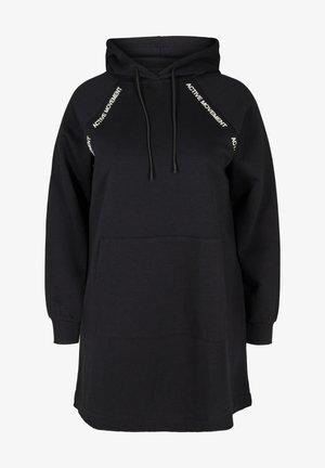 MIT KAPUZE UND TASCHE - Day dress - black