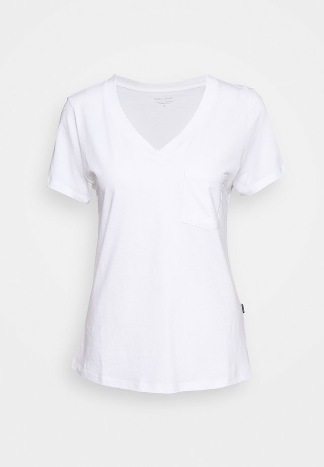 V NECK TEE - T-shirts - white