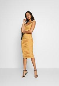 Club L London - BARDOT RUCHED DRESS - Cocktail dress / Party dress - mustard - 1