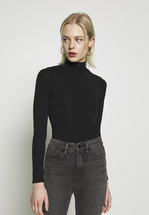 RUCHED TURTLE NECK BODYSUIT - Top s dlouhým rukávem - black