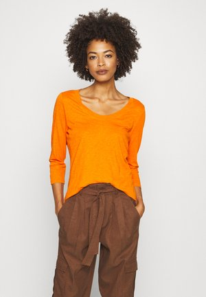 SLEEVE ROUNDED NECK STITCHING DETAIL - Long sleeved top - sunbaked orange